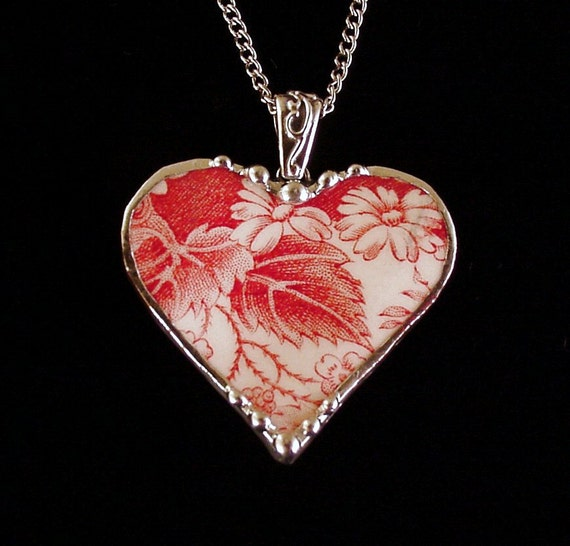 Red toile daisy Broken China Jewelry Heart Pendant necklace strawberry fair