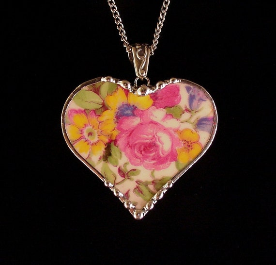 Vintage Royal Winton Summertime chintz broken china jewelry heart pendant necklace