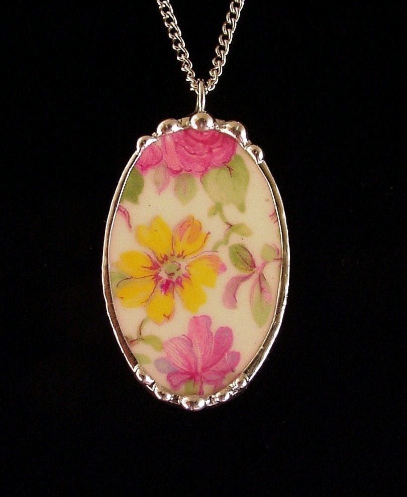 Broken China Jewelry Pendant Vintage Royal By