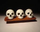 Gloss White Skulls With Salvaged Red Wood Mini Table Stand