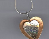Mixed Metal Heart Shaped Pendant - Nested Two Hearts as One - Mixed Metal Jewelry - Heart Inspired Jewelry - Valentine Jewelry
