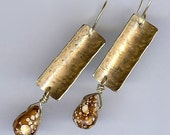 Hammered  Gold Brass Earrings with Spotted Brown Jasper Stones, Earthy Organic Handmade Jewelry, Gold Dangle Earrings