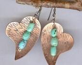 Handmade Copper Heart Earrings with Turquoise - Handmade Heart Jewelry - Artisan Metalwork Earrings - Turquoise Jewelry