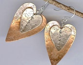 Mixed Metal Heart Earrings with Organic Textured Sterling Silver and  Copper - Mixed Metal Artisan Earrings - Handmade Mixed Metal Jewelry