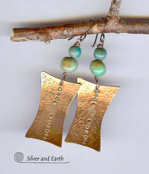 Copper Turquoise Earrings with Hammered and Hand Stamped Texture - Tribal Inspired Jewelry