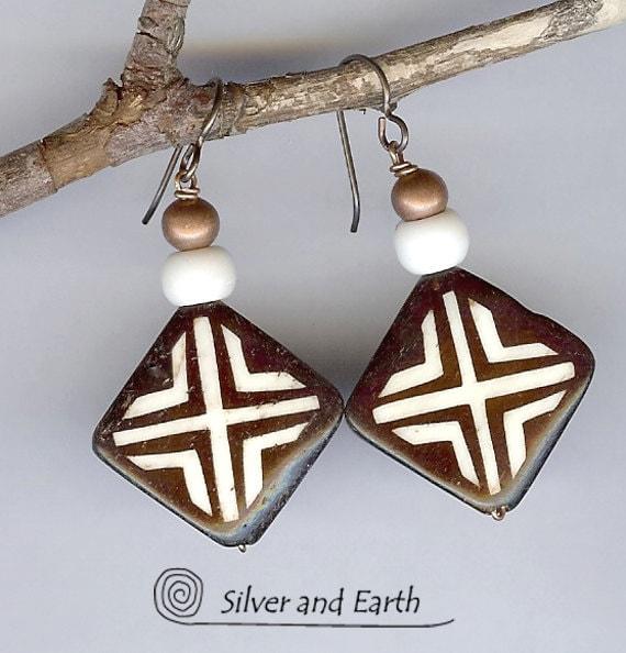 SALE - Beaded Tribal Earrings with African Bone and Copper Beads, Beadwork Earrings, Ethnic Jewelry, Sale Jewelry