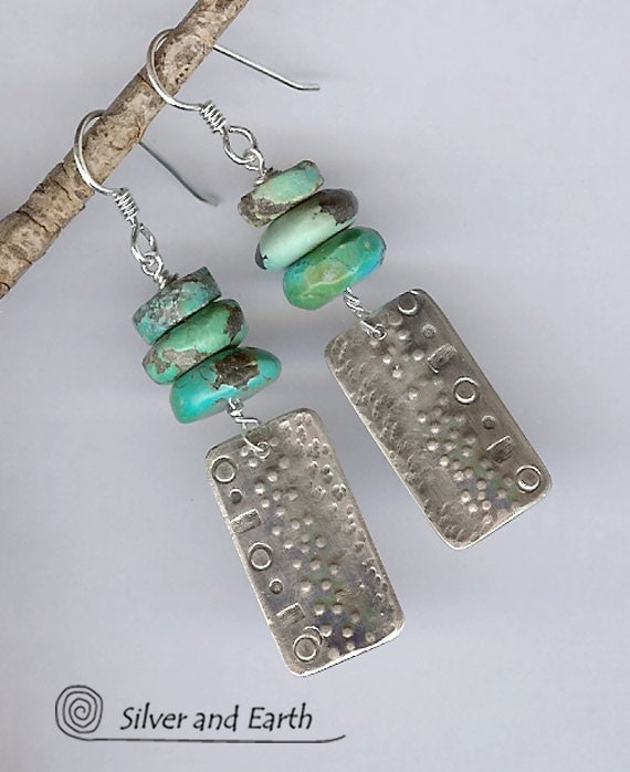 Handmade Sterling Silver Earrings with Turquoise - Turquoise Earrings - Artisan Sterling Silver Metalwork Earrings - Rustic Earthy Jewelry