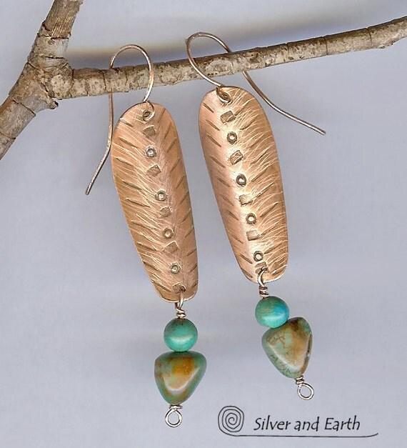 Turquoise Copper Tribal Earrings - Exotic Tribal Inspired Jewelry - Artisan Metalwork Earrings - Bohemian Tribal Jewelry
