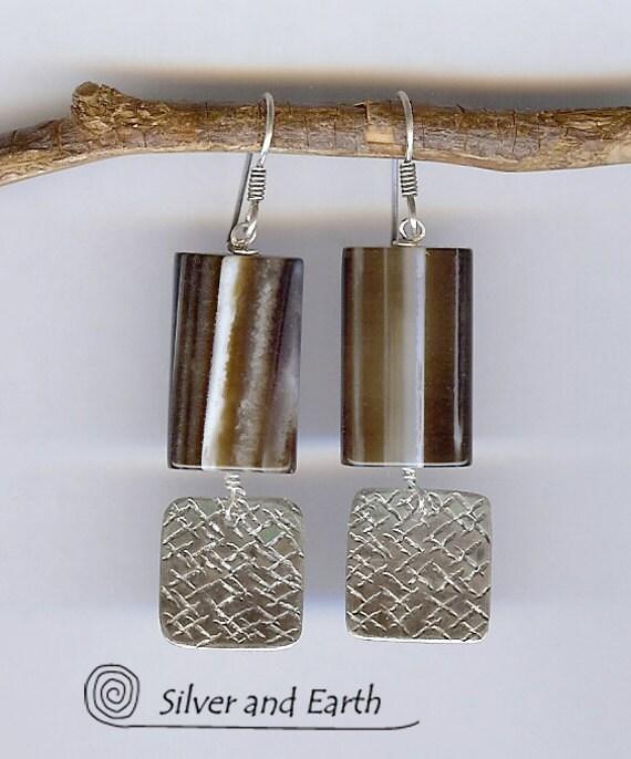 SALE - Sterling Silver Earrings w- Sardonyx  Stones- Gemstone Earrings - Artisan Metalwork Earrings - Stone Jewelry - Black Friday Jewelry