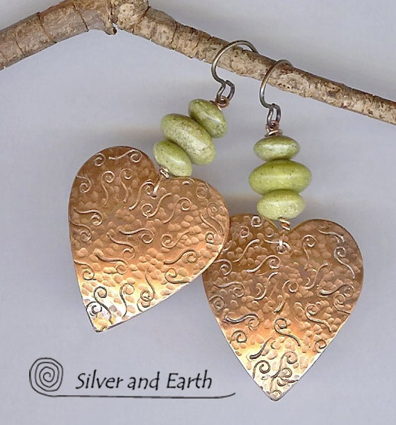 Heart Earrings w- Copper & Green Serpentine Stones, Valentine Heart Jewelry, Artisan Metalwork Dangle Earrings, Valentine Gift for Her