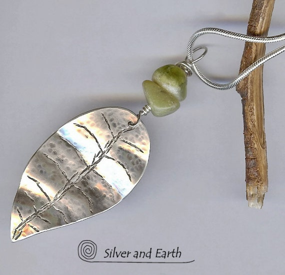 Sterling Silver Leaf Pendant Necklace with Green Jade, Artisan Metalwork Jewelry, Nature Inspired Jewelry, Handmade Leaf Jewelry