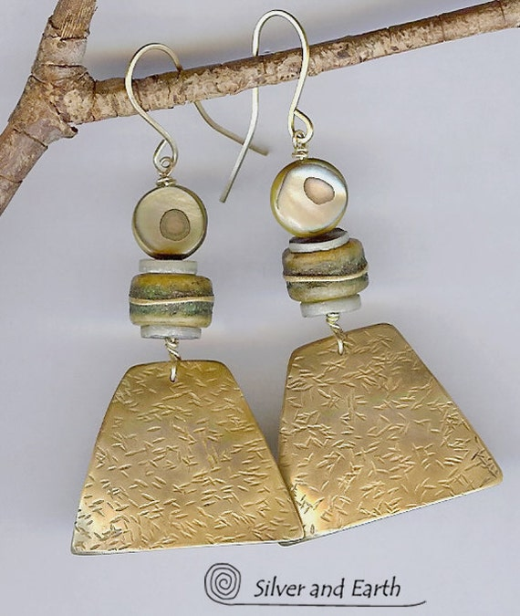 Antiqued Brass Earrings with African Bone and Mother of Pearl Shell Beads - Bohemian Jewelry - Artisan Metalwork Earrings