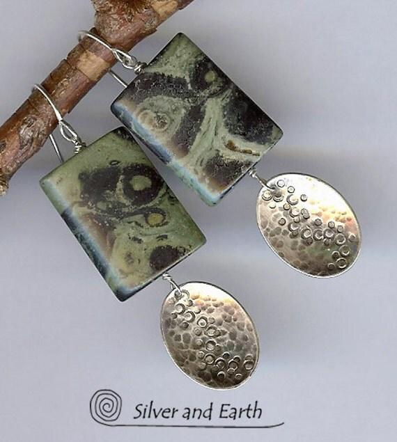 Sterling Silver Earrings with Kambaba Jasper Stones - Artisan Metalwork Earrings - Earthy Organic Stone Jewelry