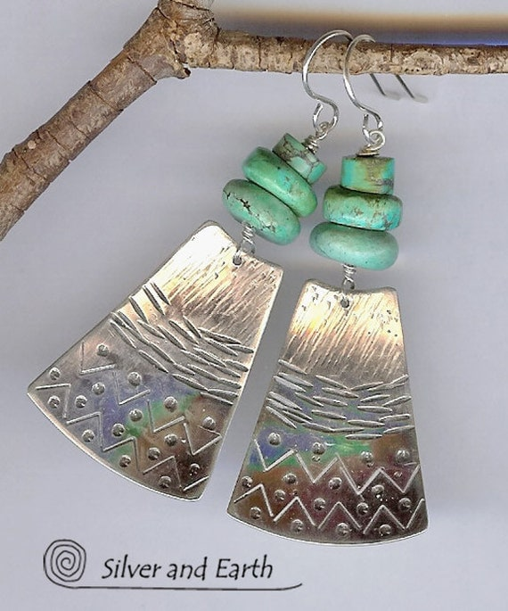 RESERVED: Sterling Silver Earrings w- Stacked Turquoise - Tribal Turquoise Earrings - Oxidized Sterling Silver Earrings - Turquoise Jewelry