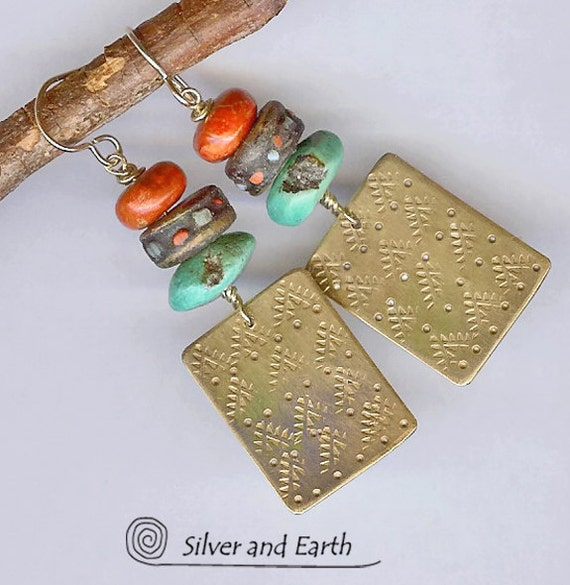 Bohemian Earrings - Handmade Brass Earrings with Turquoise, Red Coral, African Bone Beads - Artisan Metalwork Earrings - Tribal Jewelry