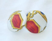 Royally Patterned Fabric Stud Earrings : E10