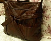 Rich Red Brown Leather Upcycled Jacket Shoulder Bag (Tote, Hobo, Purse)