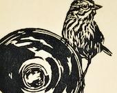 handmade woodblock print, Starflash Sparrow