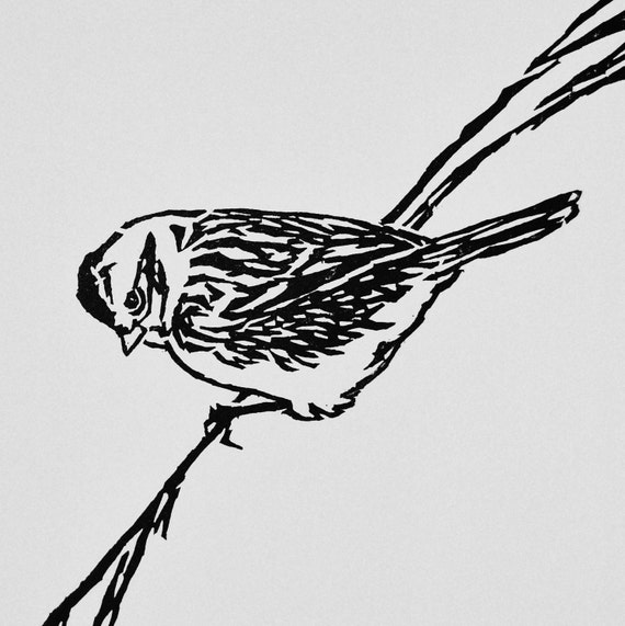 """American Tree Sparrow, hand carved woodblock print, 8""""x8"""""""