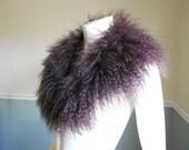 Fur Collar / Lamb Collar / Tibetan Mongolian Lamb Collar / Brown / 1980s / Curly