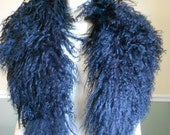 Fur Collar / Lamb Collar / Tibetan Mongolian Lamb / 1980s / Black Curly lamb