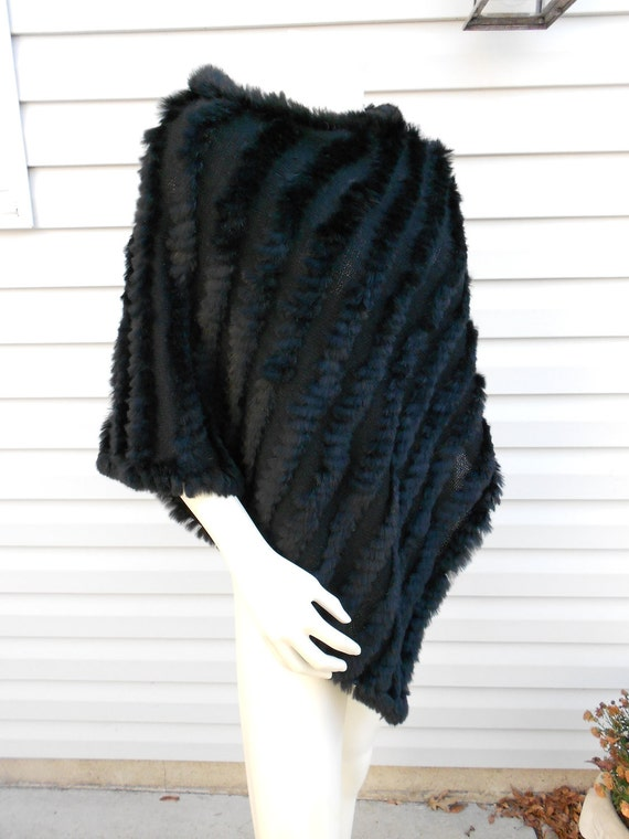 Rabbit Fur Poncho Black Cape Shawl Wrap By Tootiescloset