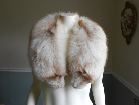 Fox Fur Collar / Silver and Brown/ 1980s