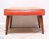 vintage mid century modern orange vinyl foot stool