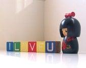 i love you - vintage wooden blocks