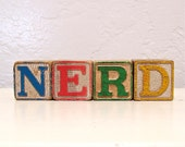 nerd - vintage wooden letter blocks