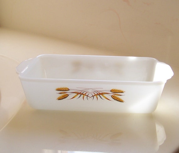 Vintage Fire King Wheat Pattern Loaf Pan By