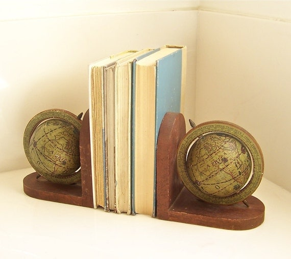 Old World Globe Bookends
