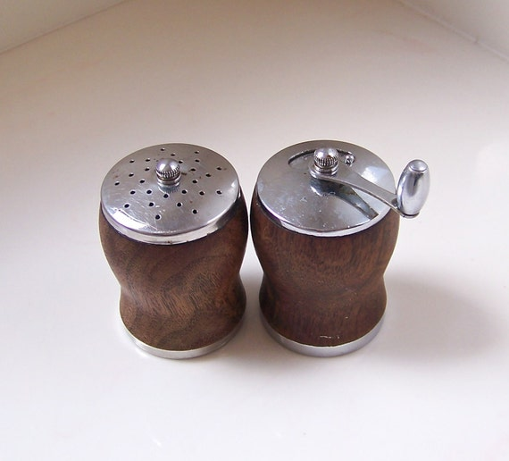 vintage salt shaker and pepper mill - wood and metal