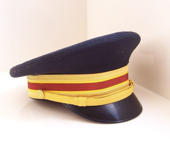 50% off vintage Bancroft navy military army cap - red and yellow striped band