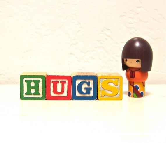 RESERVED  for naimaorama - vintage wooden letter blocks - hugs