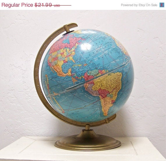 50% OFF vintage Cram's Imperial 12 inch World Globe 1960s