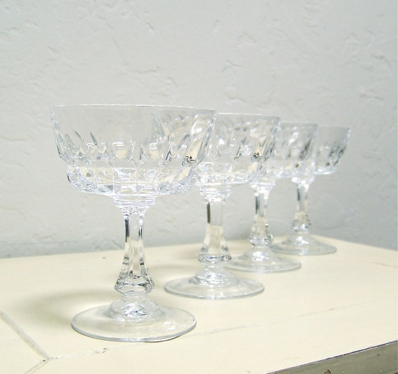 50% off vintage crystal wine glasses - set of 4