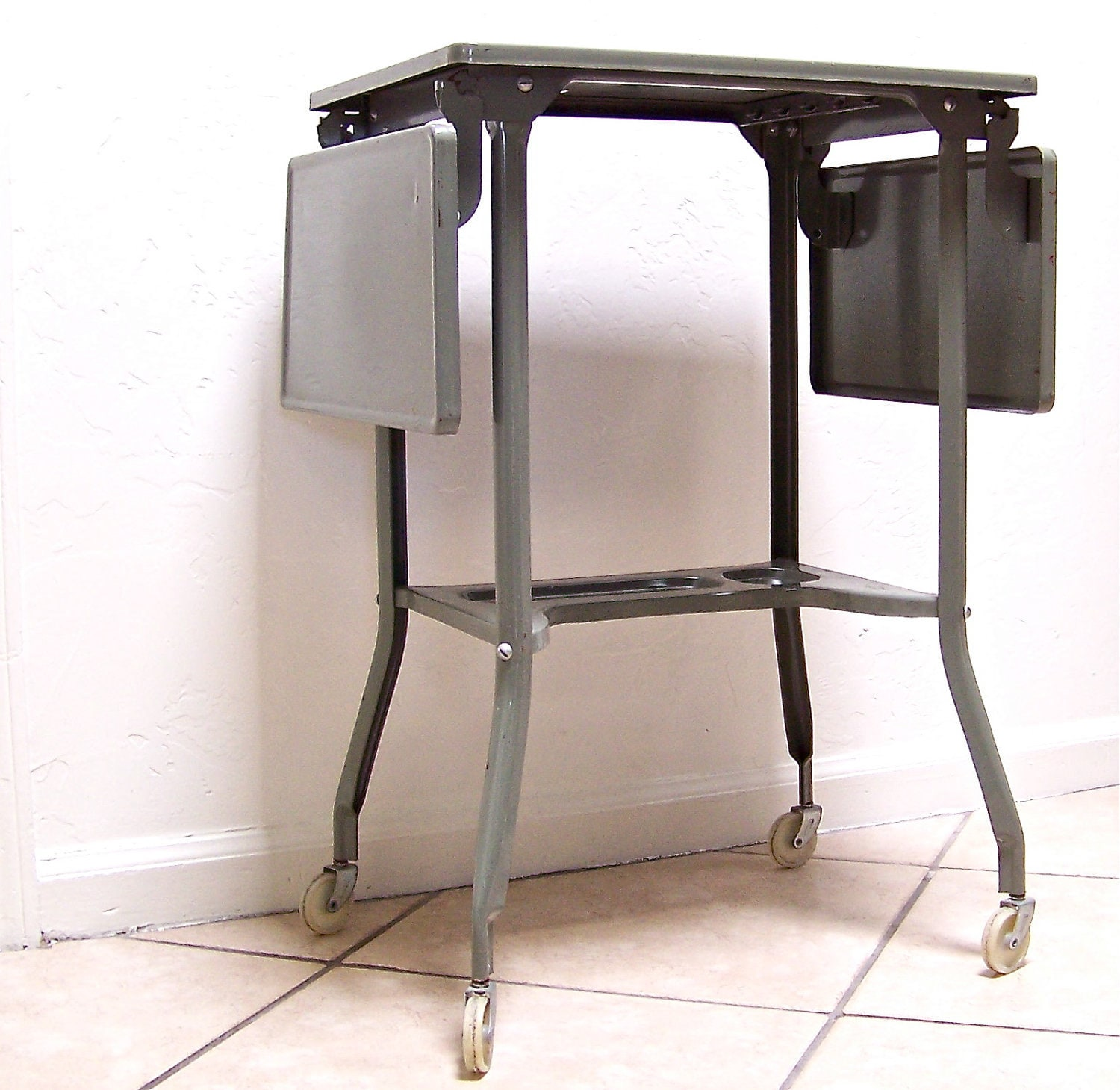 Vintage Typewriter Stand Typewriter Table Industrial Gray