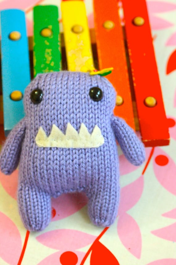 Purple Monster Amigurumi hand knit stuffed animal