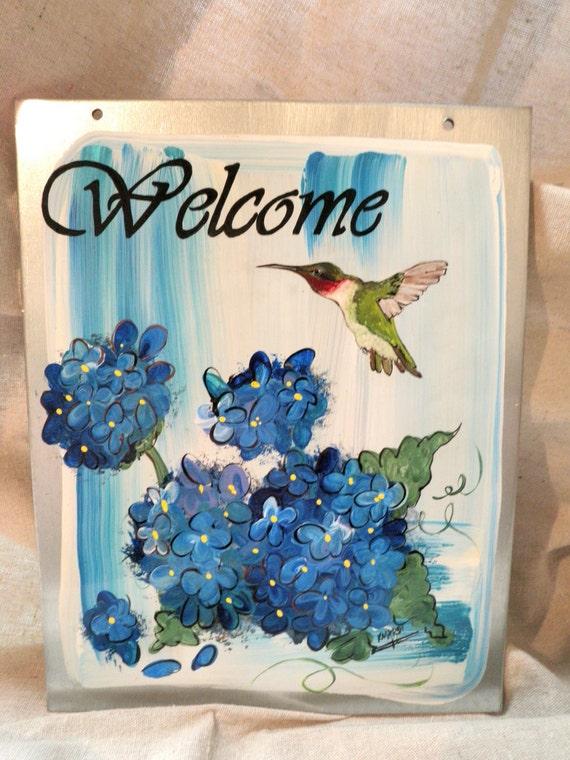 Hand Painted Hummingbird Blue Hydrangea Sign