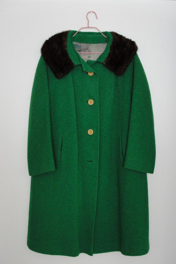 Vintage Kelly Green Mar-Del Heavy Coat by Rice