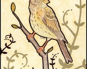 Corn Bunting bird  sketch drawing painting original art