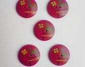Vintage handpainted wood buttons - 5