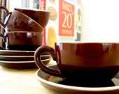 Set of 4 Espresso Sized Cups and Saucers