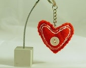 Key ring, keychain. Hand made from embroidered red felt