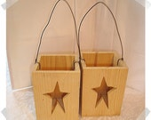 Unfinished Wooden Boxes w/Wire Handle/RESERVED for Amber Unser