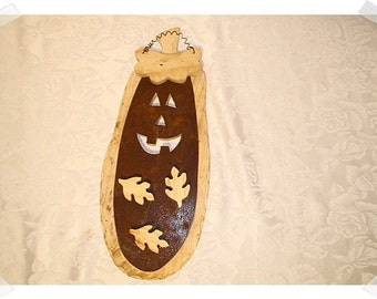 Wooden Pumpkin/Unfinished / w/Rusty Metal & Leaf Magnets/ Craft Supplies*
