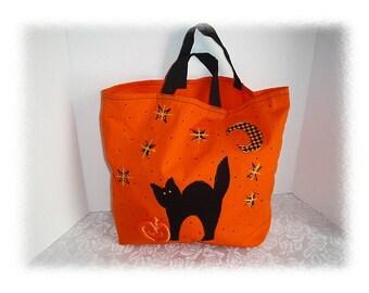 Halloween Canvas Trick or Treat Bag/Holiday Decor/ Handmade*