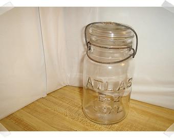 Vintage Glass ATLAS E-Z Seal Jar/ Home Decor/ Supplies*