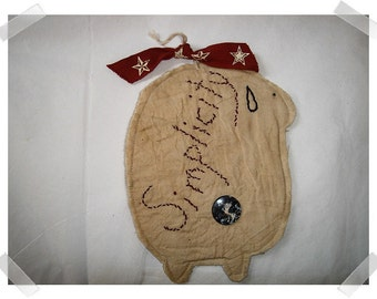Primitive Style Sheep Ornament/ Simplicity /Handmade**